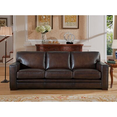 World Menagerie Mcdonald Leather Sofa | Wayfair