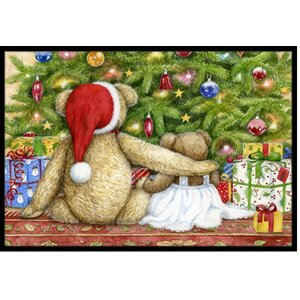 Christmas Teddy Bears with Tree Doormat