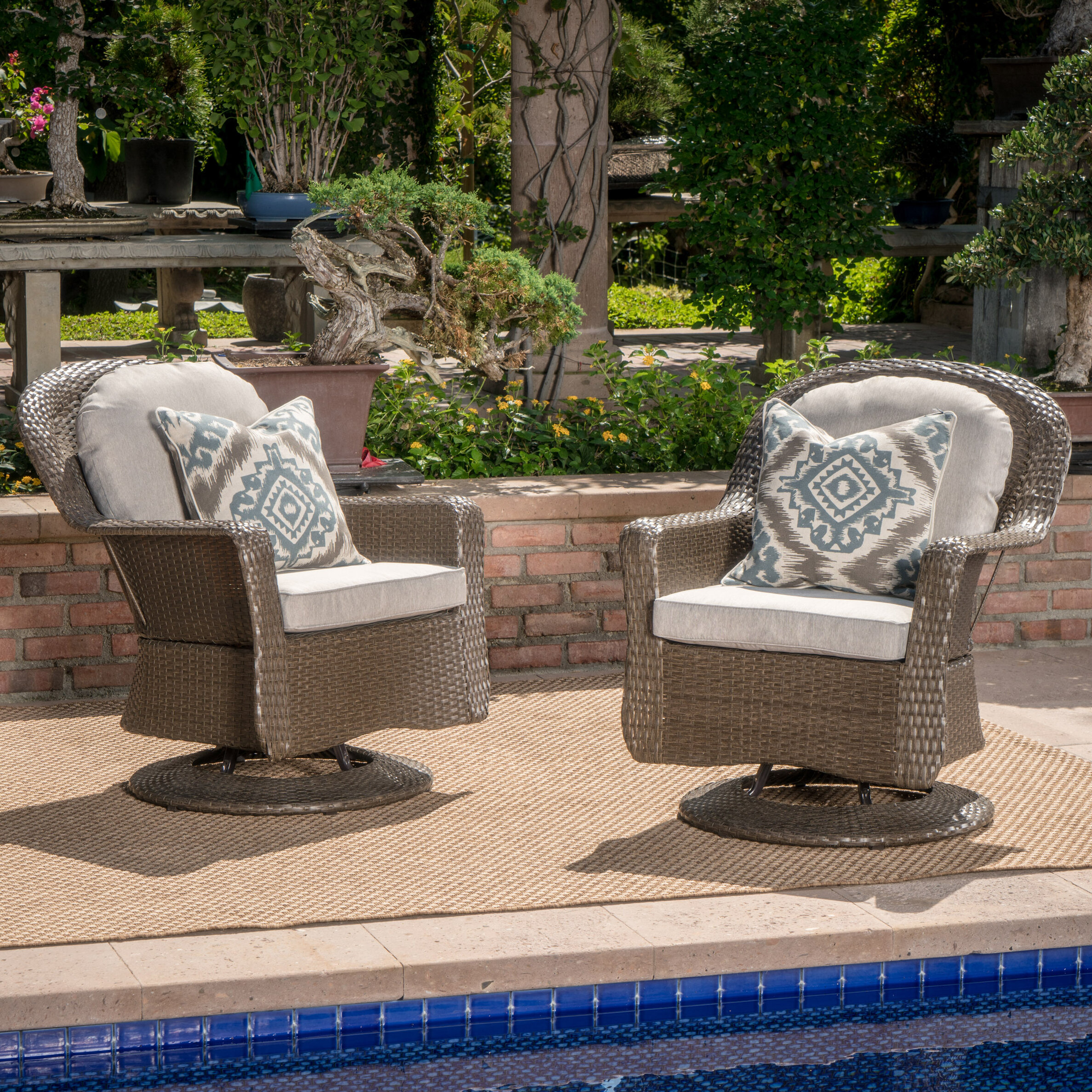 6adde475bef Birch Lane Middletown Modern Outdoor Wicker Swivel Club Patio Chair with  Cushions   Reviews