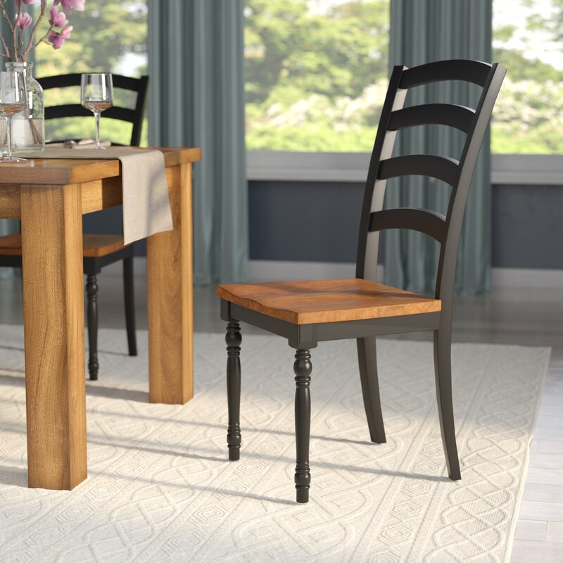 Courtdale Ladder Back Solid Wood Dining Chair