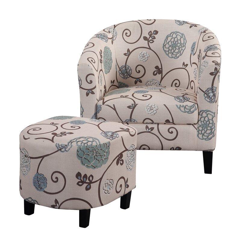 Alcott Hill Abbottsmoor Barrel Chair and Ottoman & Reviews   Wayfair