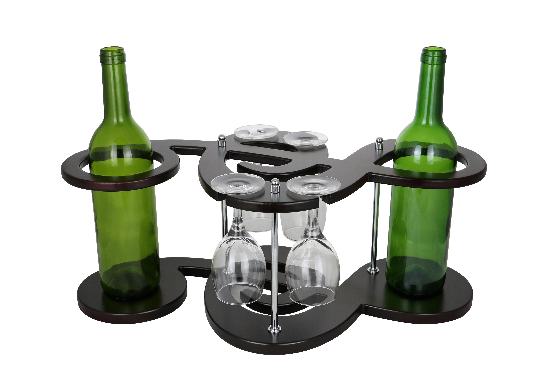 Wine Bodies Musical Key Shaped Wooden Holder Display 2 Bottle