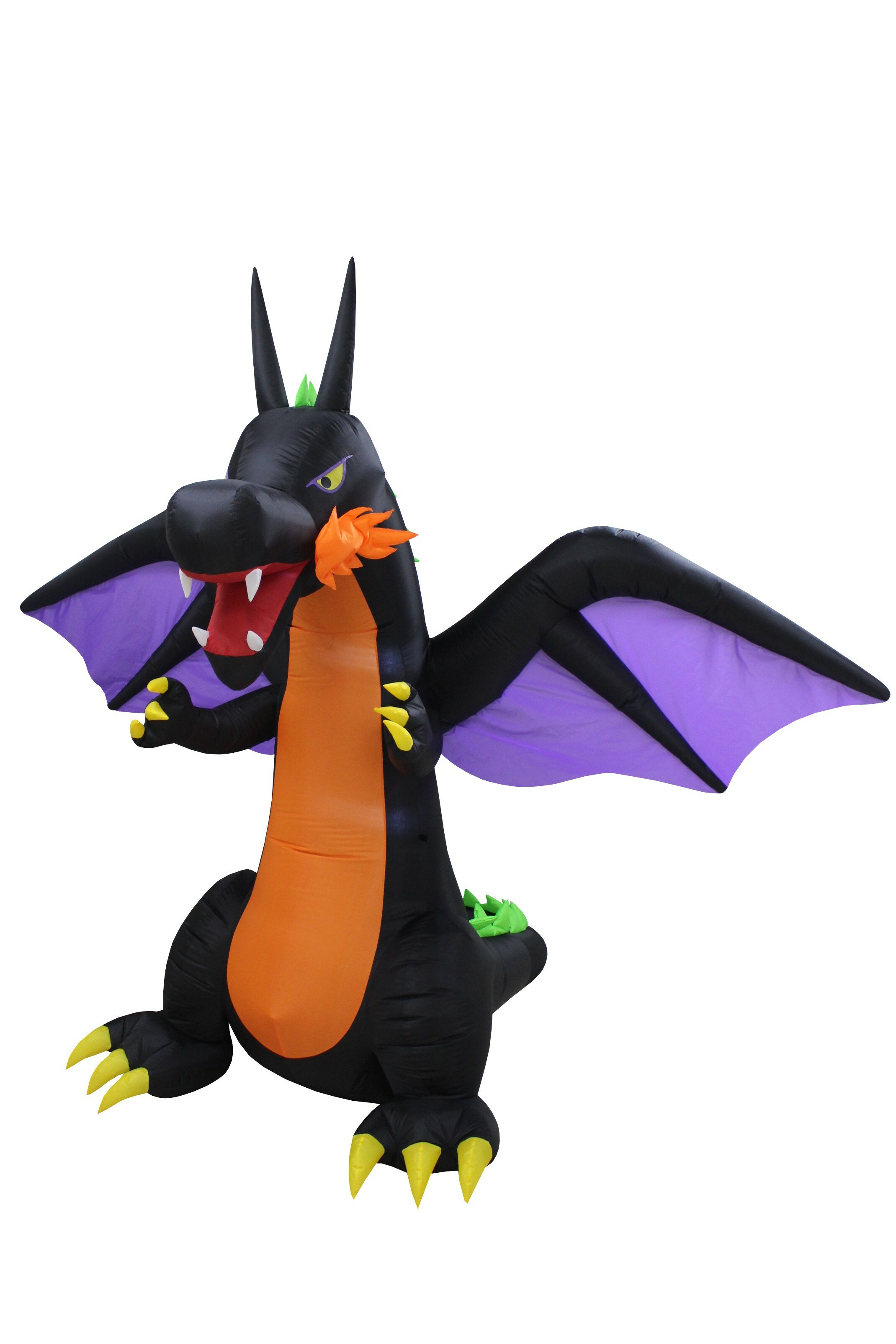 The Holiday Aisle Halloween Fire Dragon Inflatable with Wings | Wayfair