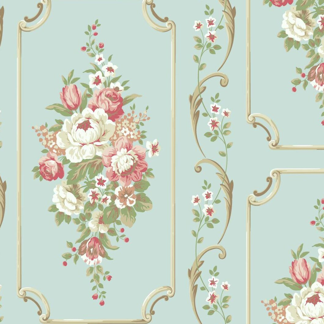 York wallcoverings casabella ii 27 39 x 27 floral and for Bella flora chaise lounge