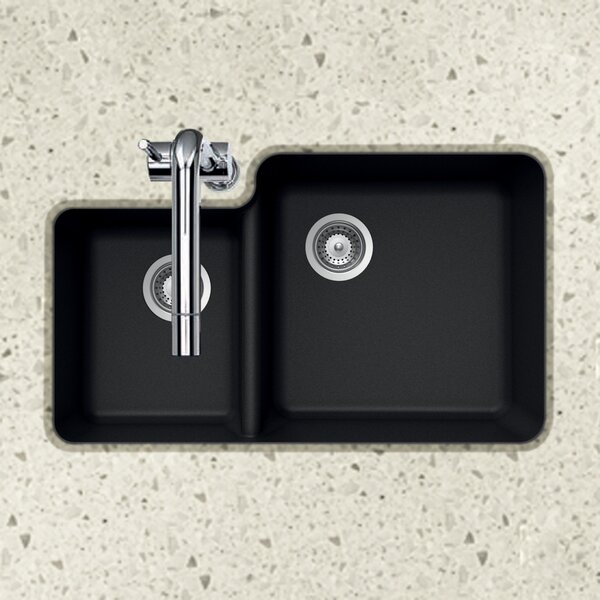 kitchen sink granite houzer quartztone 33 quot l x 20 76 quot w 70 30 bowl 2727