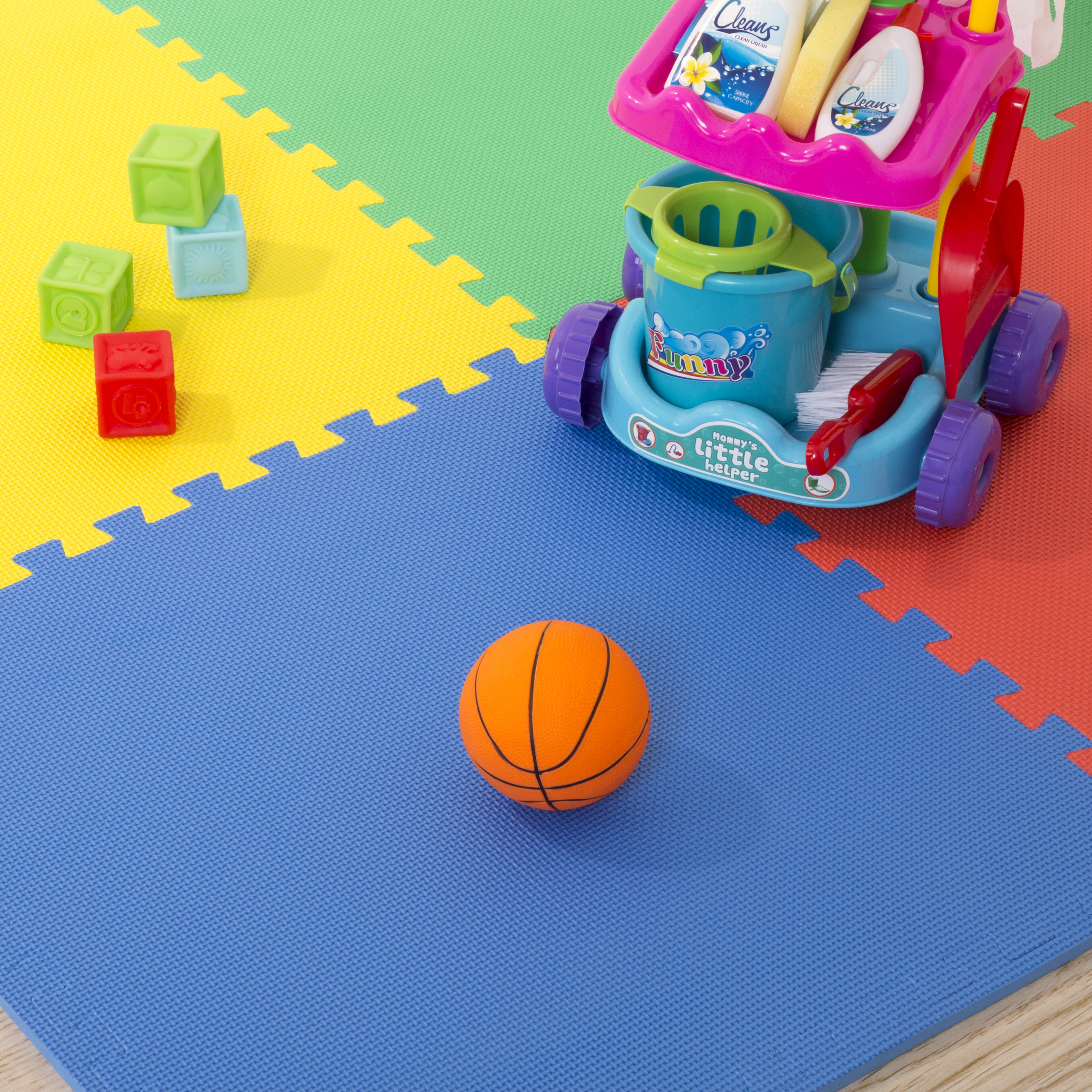 interlocking square mat foam sports workout grain waterproof homcom soft exercise kid outdoors feet mats floor play wood