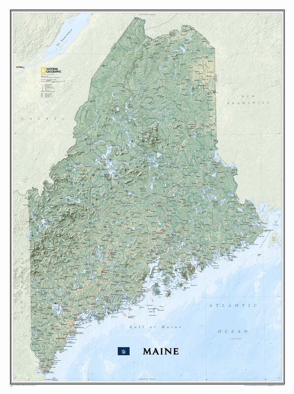 National Geographic Maps Maine State Wall Map Reviews Wayfair - State of maine map