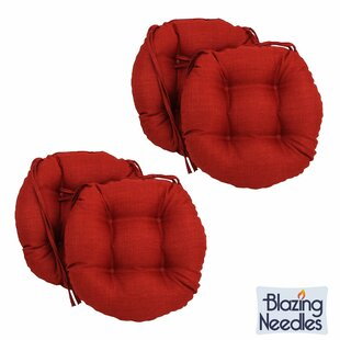 Blazing Needles 16 Inch Round Indoor/Outdoor Chair Cushions (Set Of 4)