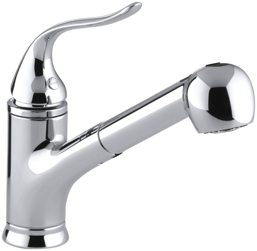 High Quality Coralais Pullout Single Handle Kitchen Faucet With MasterClean™