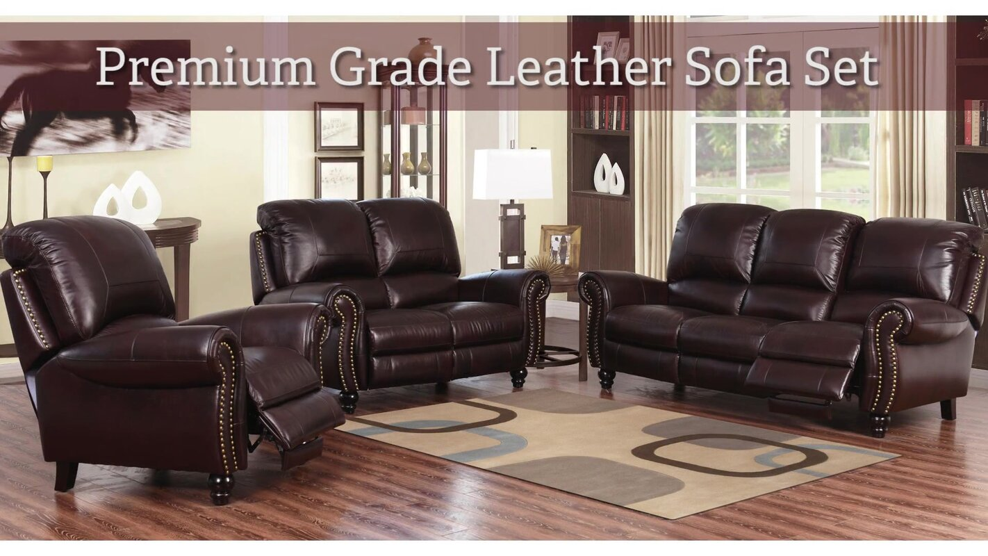 Darby home co kahle leather 2 piece living room set reviews wayfair 2 piece leather living room set