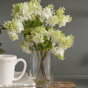 Silk flowers no vase wayfair quincy lilac silk flower arrangement in vase mightylinksfo