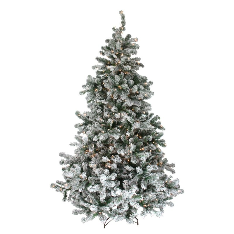 The Holiday Aisle Pre-Lit Flocked 7.5\' Natural Emerald Pine ...