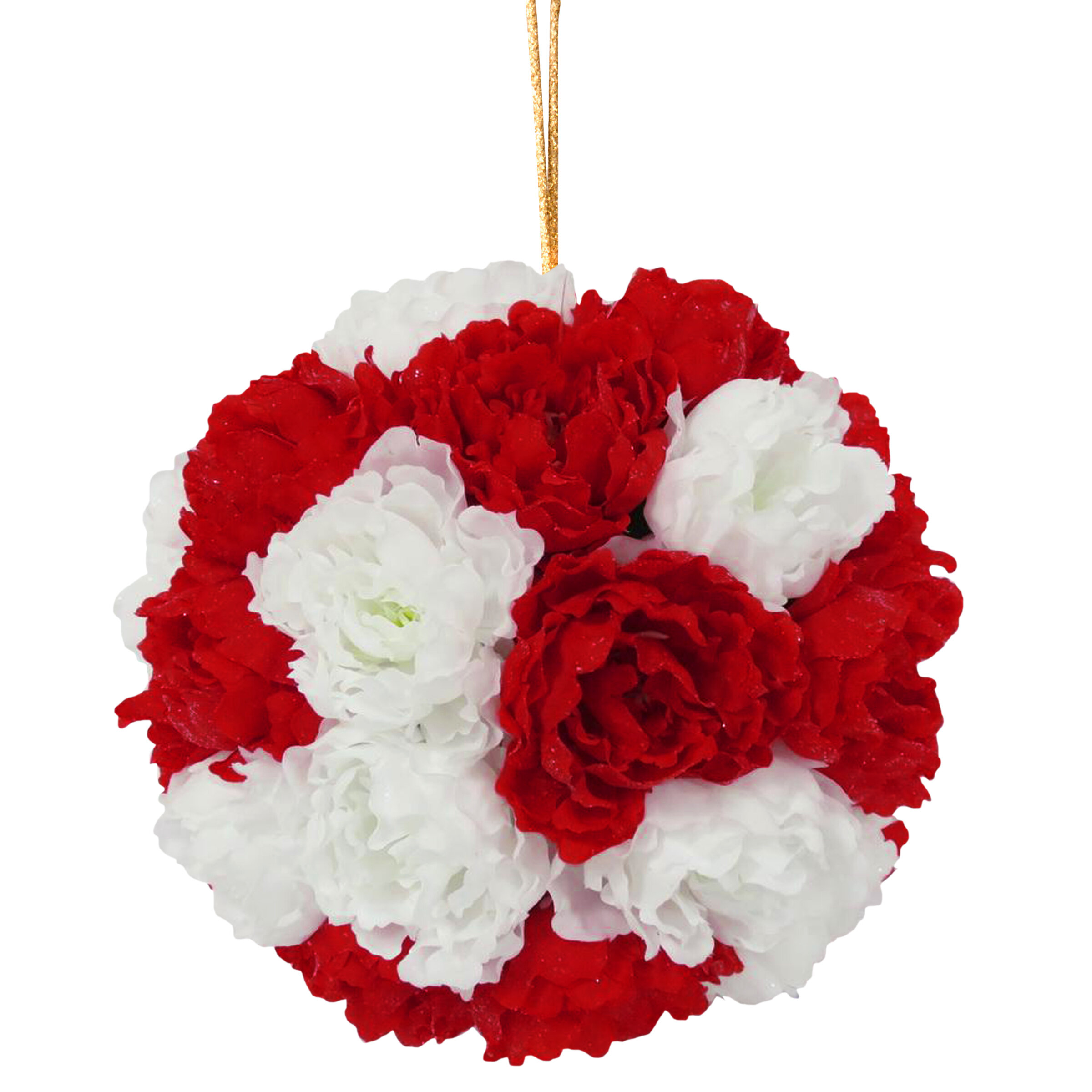 National Tree Co 12 Red And White Peony Hanging Ball Wayfair