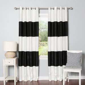 Grommet Striped Blackout Thermal Curtain Panels (Set Of 2)