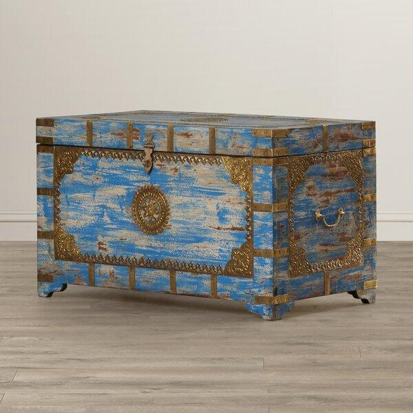 World Menagerie Burdette Painted Brass Inlay Storage Trunk   Wayfair