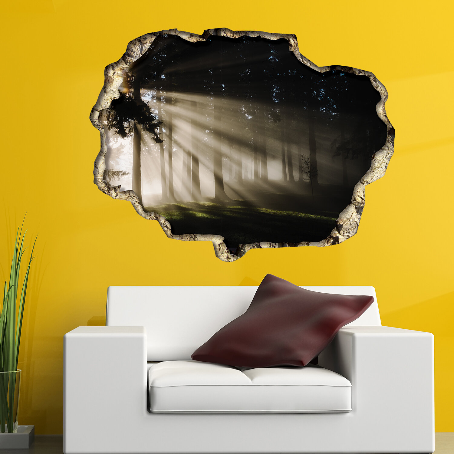 East Urban Home View Through the 3D Wall Forest Light Wall Decal ...