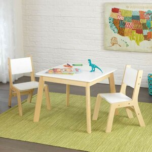 Modern Kid's 3 Piece Square Table and Chair Set