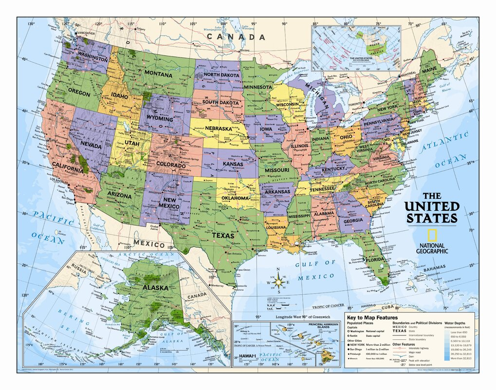 National Geographic Maps Kids Political USA Wall Map Grades - Political map of arkansas
