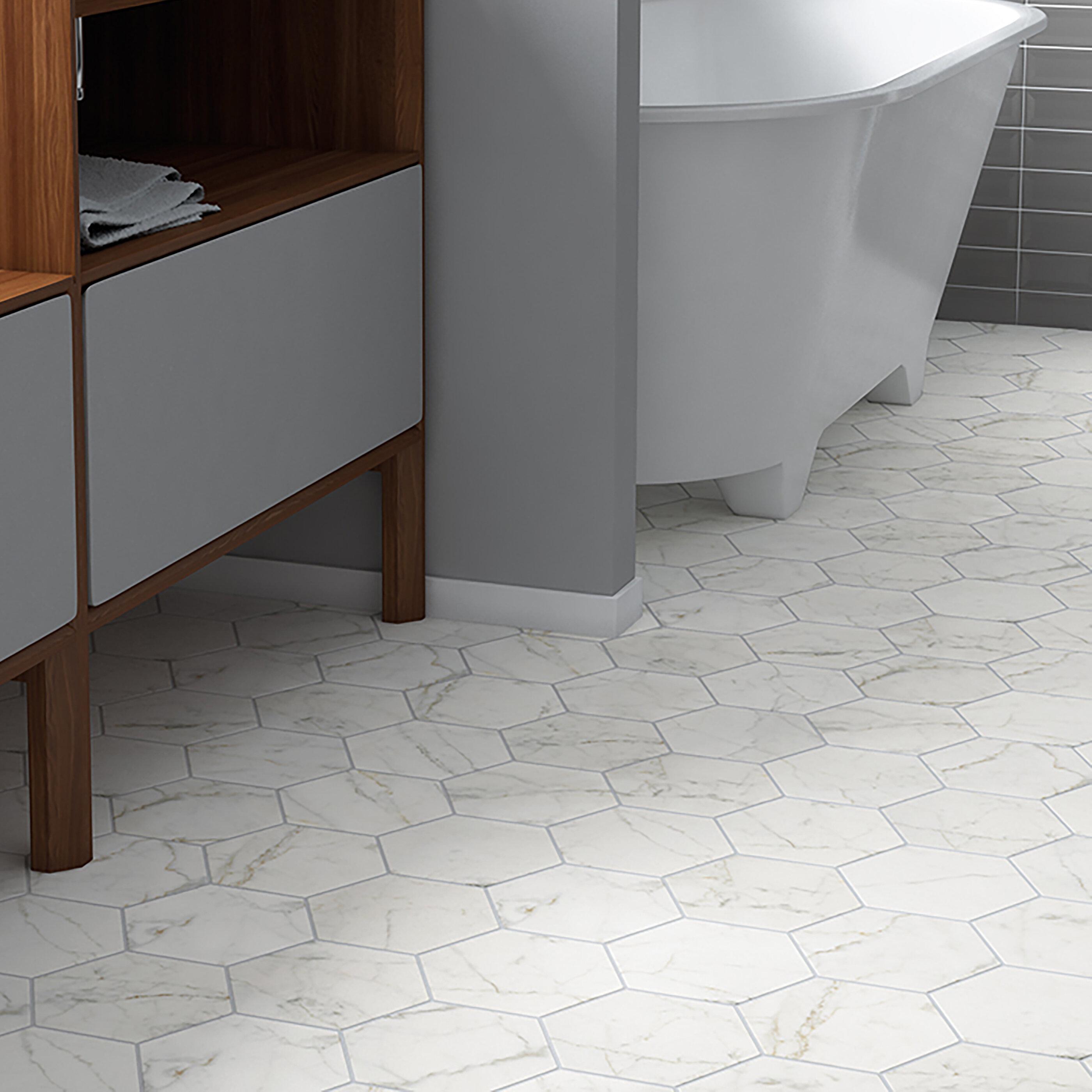 Elitetile Karra Carrara 7 X 8 Porcelain Field Tile In White Gray Reviews Wayfair