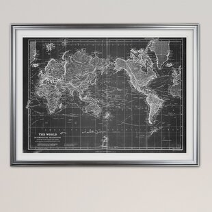 Maps framed art youll love wayfair vintage wold map vi graphic art print gumiabroncs Gallery