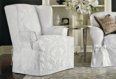 Ordinaire Matelasse Damask T Cushion Wingback Slipcover