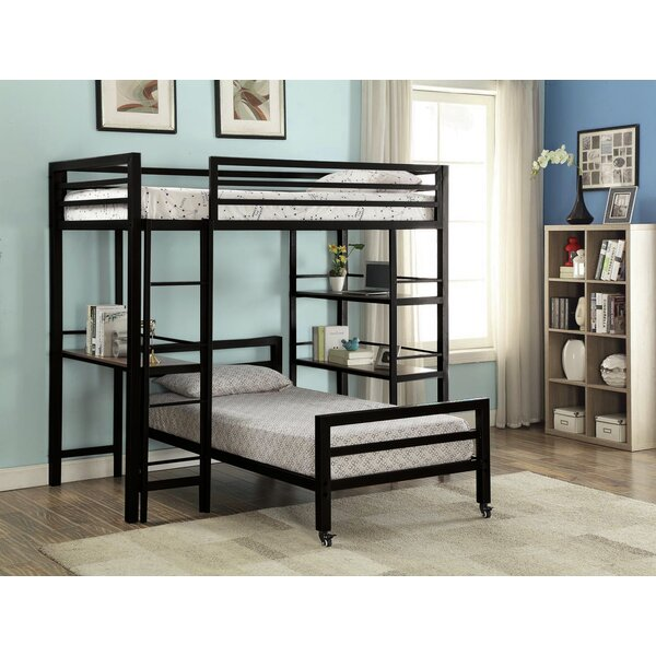 Harriet Bee Bartholomew Twin Over Twin Loft Bed With Bookshelf And