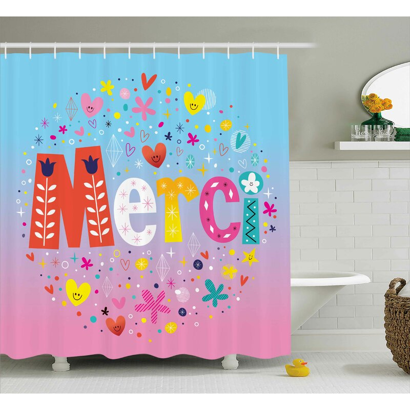 Jamel French Decor With Hearts Shower Curtain