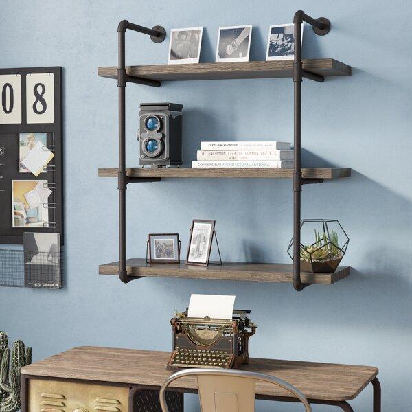 17 Stories Simonne 3 Tier Industrial Pipe Wall Shelf