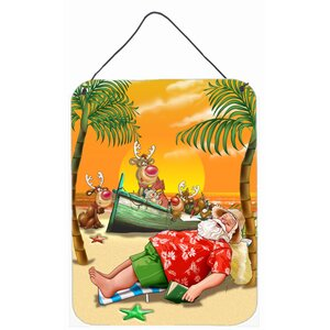 Beach Christmas Santa Claus Napping Graphic Art Plaque