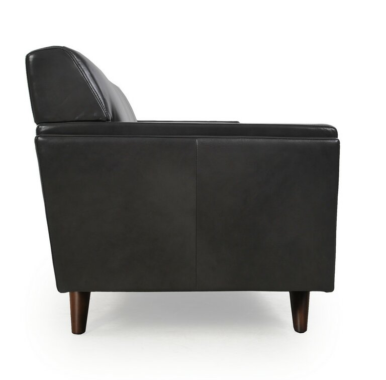 corrigan studio ari mid century modern leather sofa wayfair