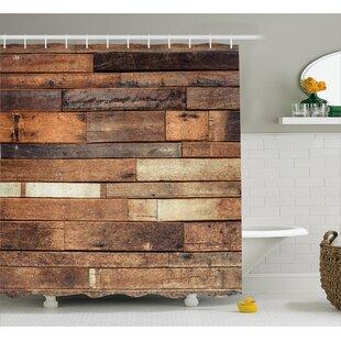 Wooden Brown Rustic Floor Look Shower Curtain