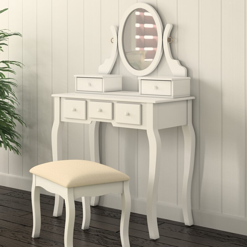 Superbe Zeke Wood Makeup Vanity Set With Mirror