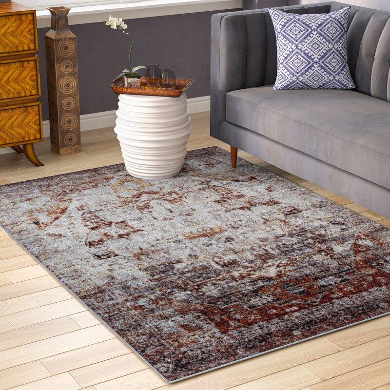 world menagerie brahim red gray area rug reviews wayfair. Black Bedroom Furniture Sets. Home Design Ideas
