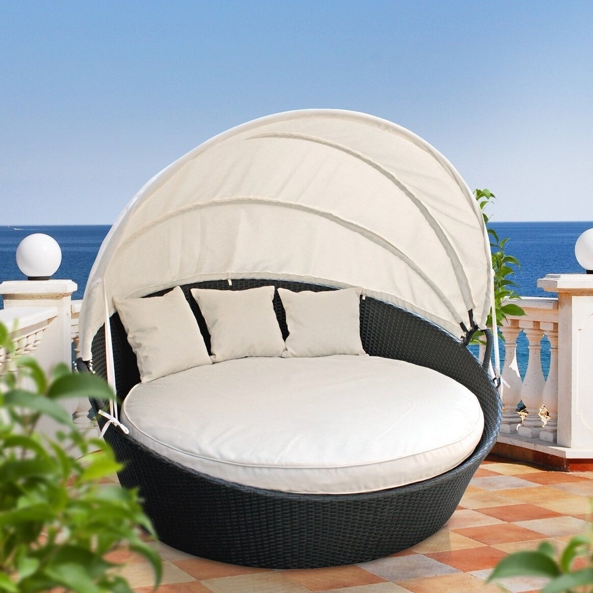 Holden Canopy Outdoor Patio Daybed With Cushions U0026 Reviews | Birch Lane