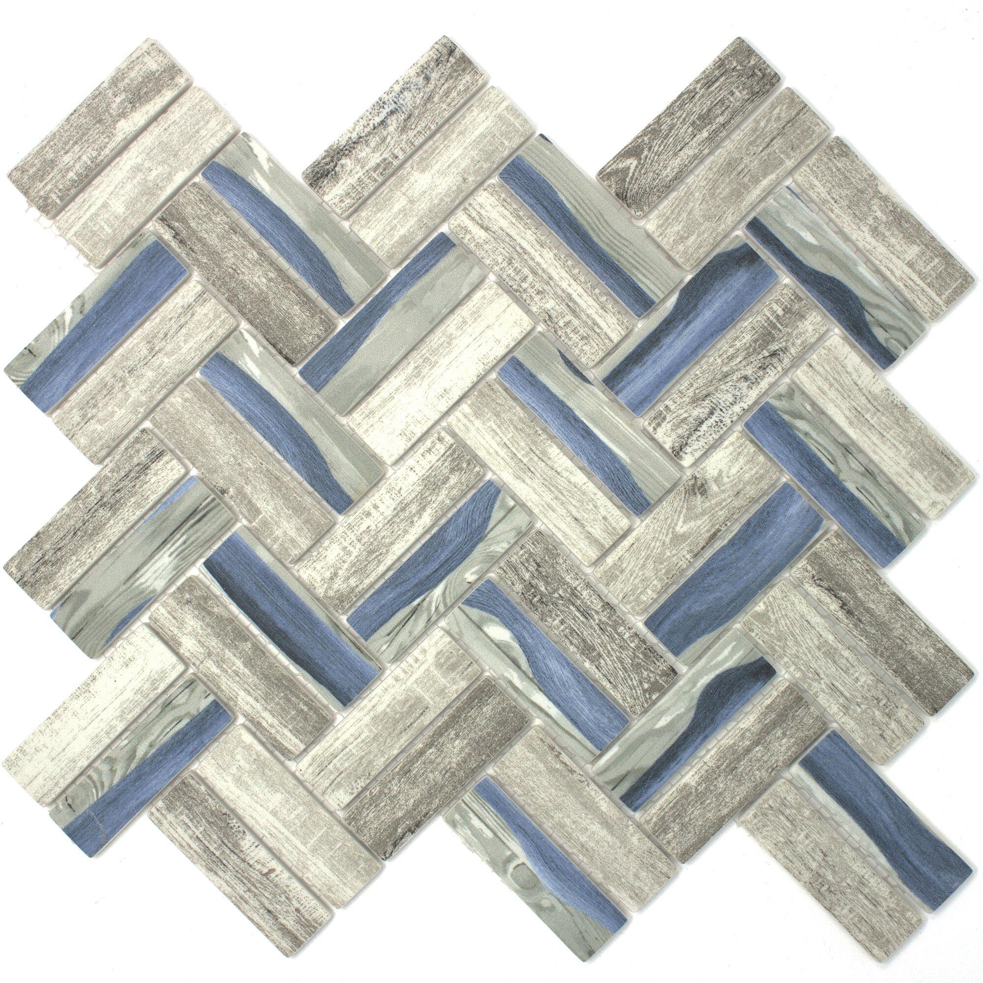 """Multile Recycle Herringbone Wooden Look 1"""" x 3"""" Glass Mosaic Tile in"""