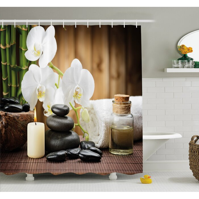 Ambesonne Spa Asian Style Decoration with Zen Stones Candle ...