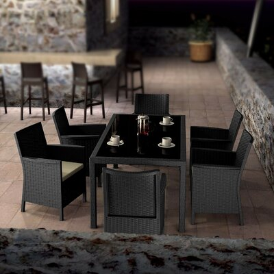 Brayden Studio Racheal 7 Piece Dining Set Color: Dark Gray
