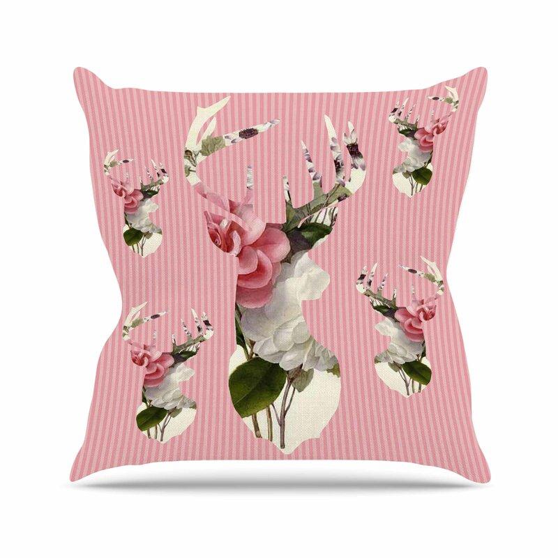 3ec78ba82d East Urban Home Suzanne Carter Floral Deer Outdoor Throw Pillow ...