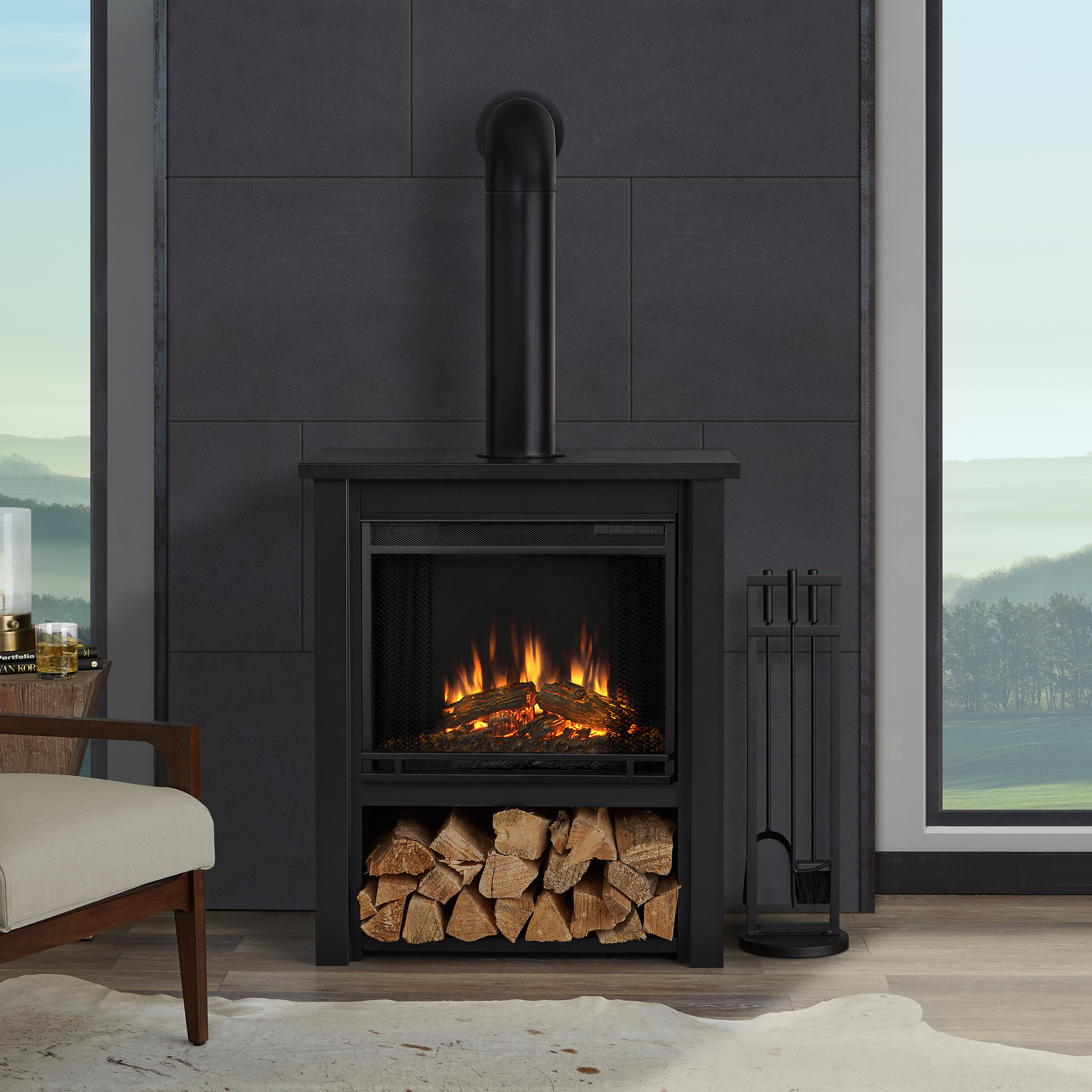 wall fireplace chimney mounted watch free youtube electric