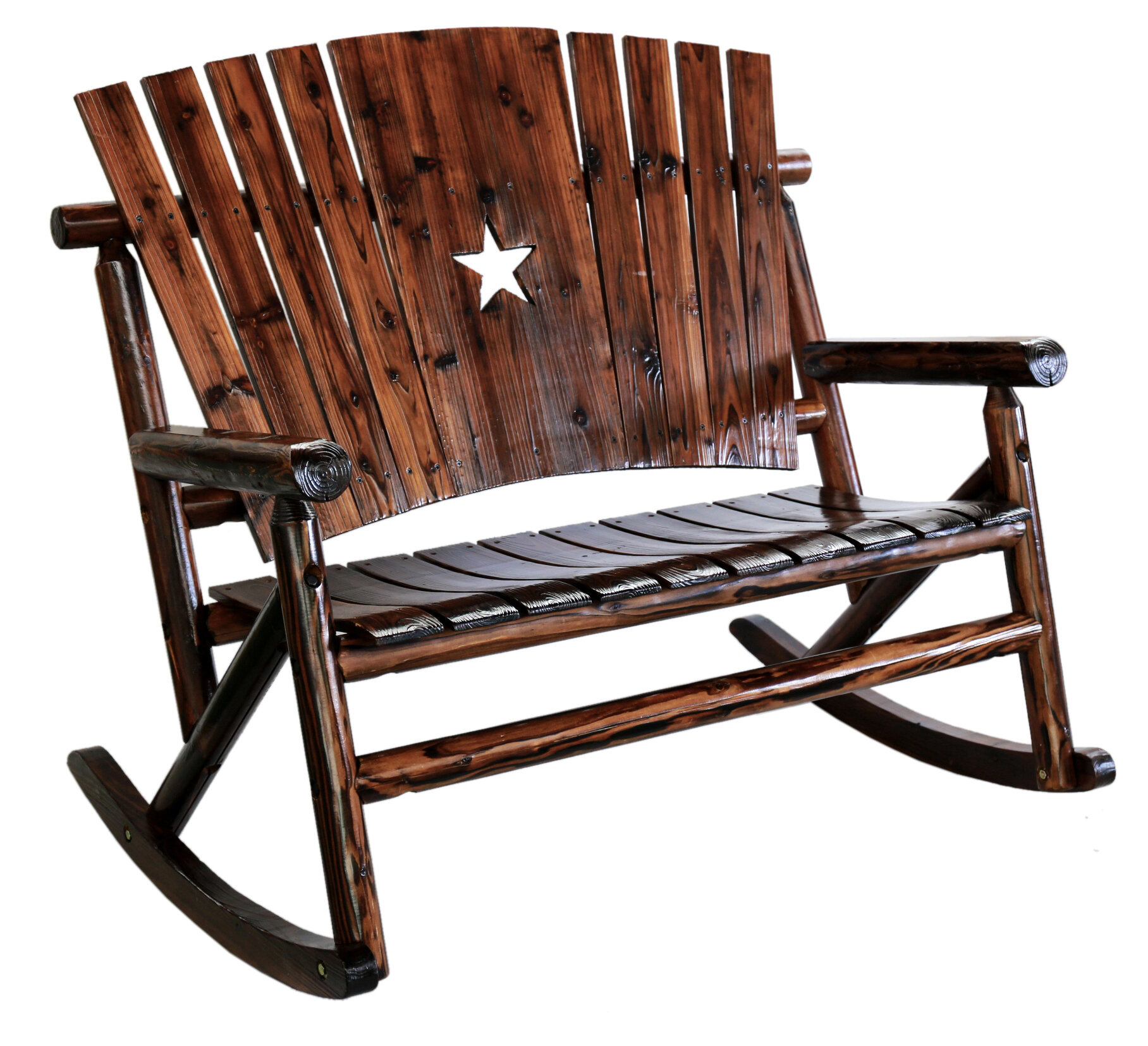 leighcountry char log star double rocking chair ii reviews wayfair