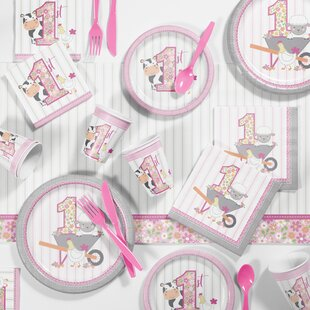 Farmhouse Girl 1st Birthday Party Paper Plastic Disposable Supplies Kit
