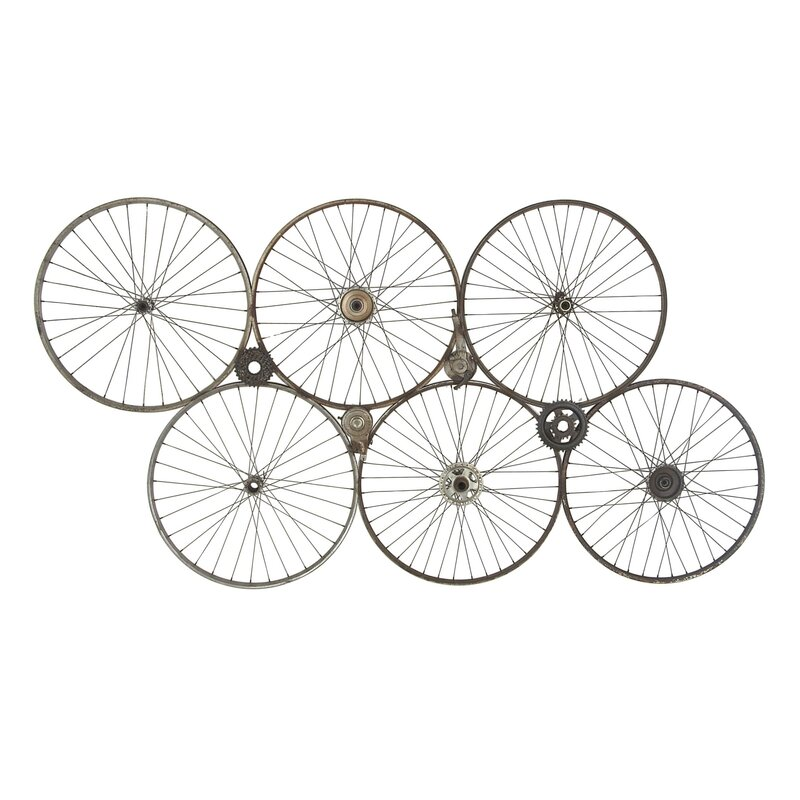 17 Stories Industrial Rim And Crank Wheel Wall Dcor