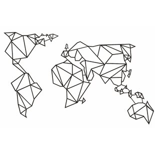 World Map Geometric Metal Wall Décor