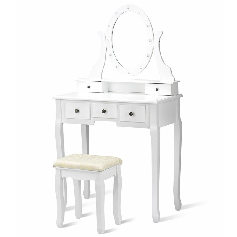 Oldfield 5 Drawer Makeup Vanity Set With Mirror