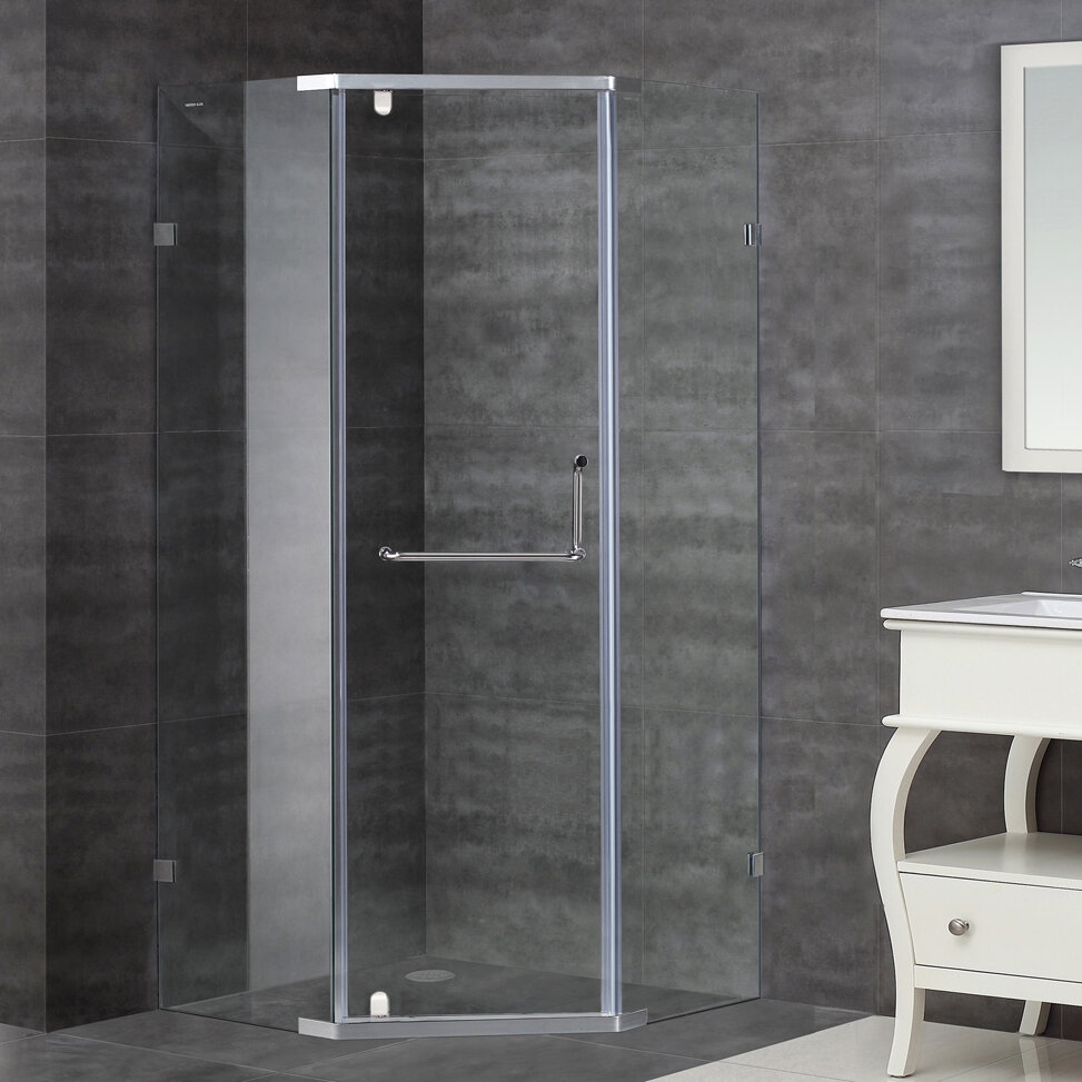 Aston 37 X 75 Pivot Semi Frameless Shower Door Wayfair