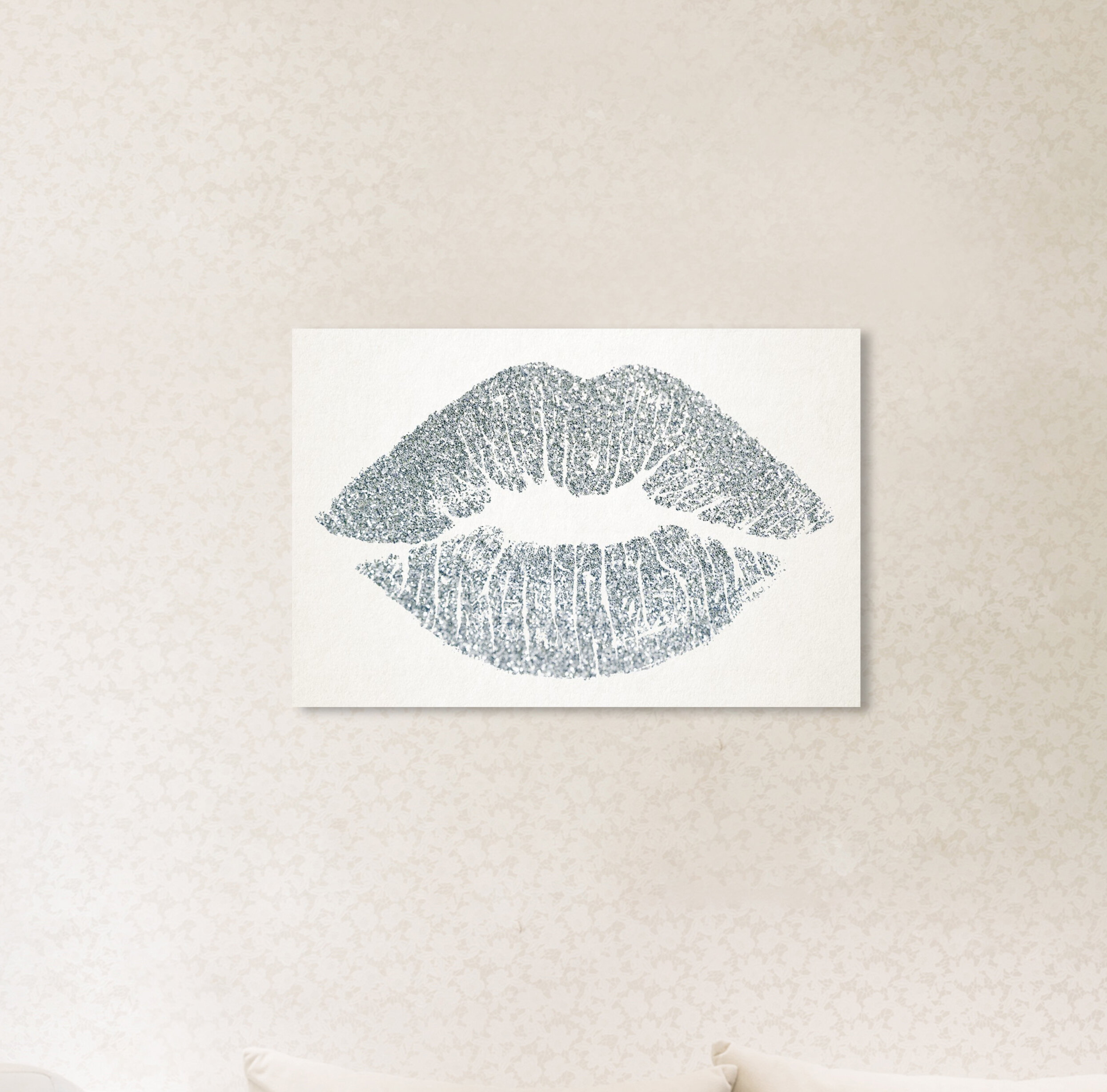 Oliver Gal 'Solid Kiss Silver Fashion Art' Wrapped Canvas Print