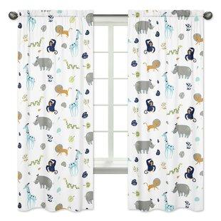 Mod Jungle Wildlife Rod Pocket Window Curtain Panels (Set Of 2)