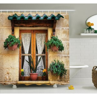 Old Window And Flowers Shower Curtain Set