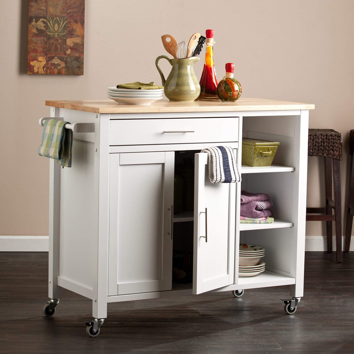 Kitchen Trolley Butcher Block : Alcott Hill Landau Kitchen Cart with Butcher Block Top & Reviews Wayfair