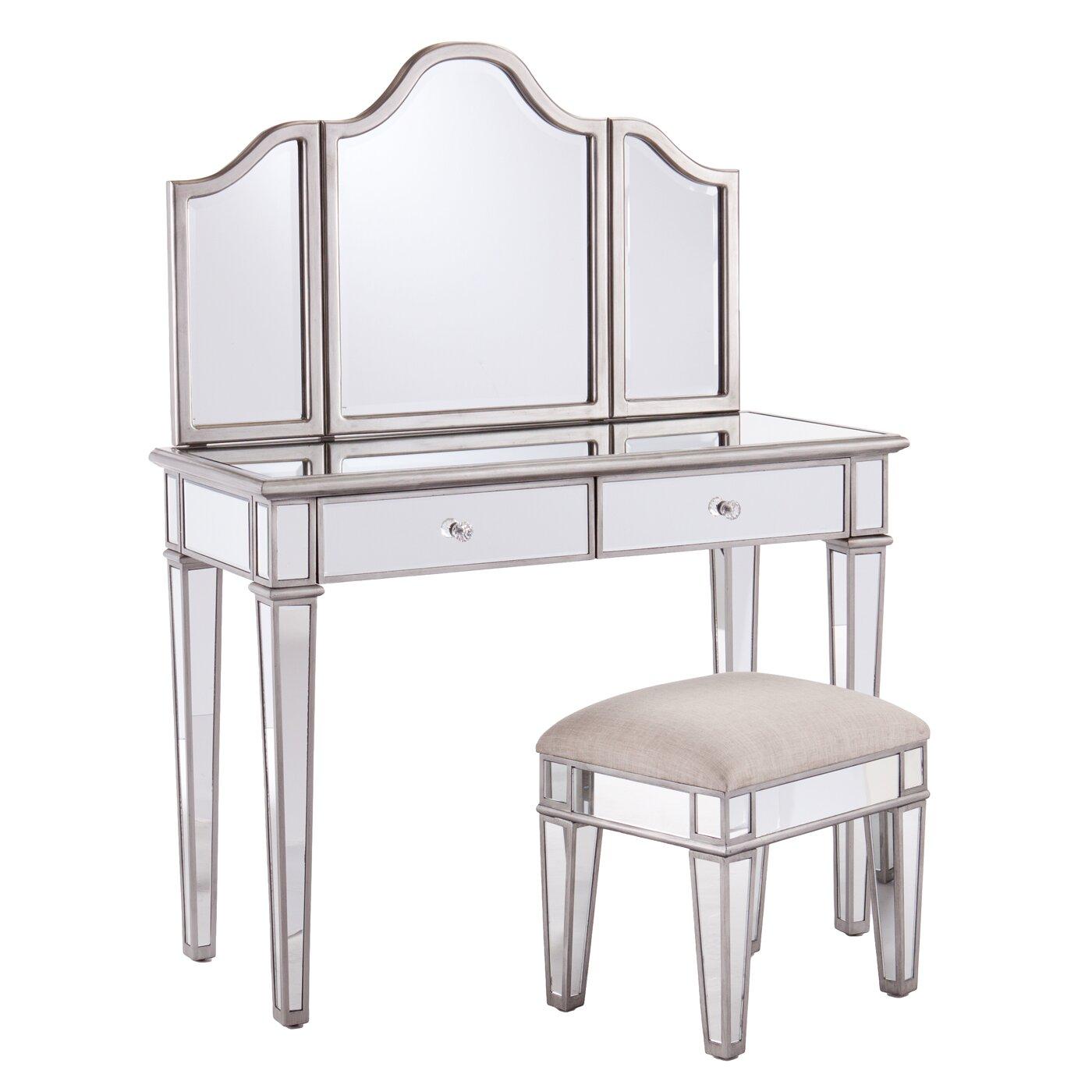 House Of Hampton 2 Piece Kaila Mirrored Vanity Stool Set
